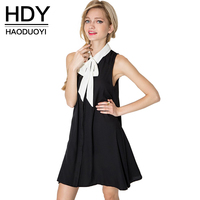 HDY Haoduoyi New Fashion Tank Dress Women Sleeveless Cold Shoulder Female A Line Dress Sweet Style
