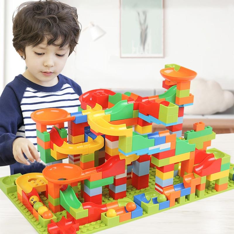 New 330PCS Mini Size Track Blocks Marble Race Run Maze Ball Track Building Blocks Set ABS Assemble Funnel Slide Bricks Toys Gift