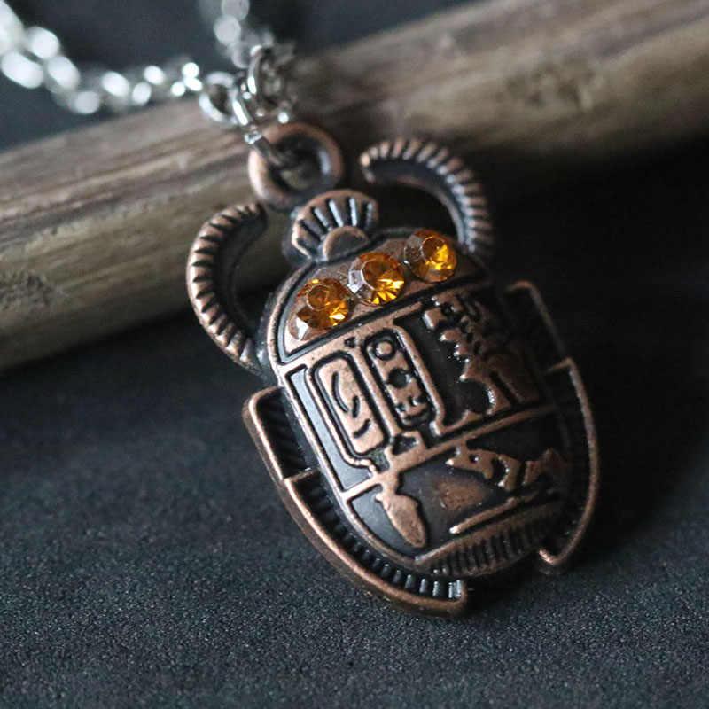 Mesir Mesir Scarab Kalung Vintage Quartz Liontin Kalung Kekayaan Abadi Kalung Collier untuk Wanita Pria Hadiah Natal