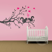 Tree Branch Squirrels Birds Nursery Kids Sticker For Baby Nature Vinyl Wall Paper Decal Art Wall