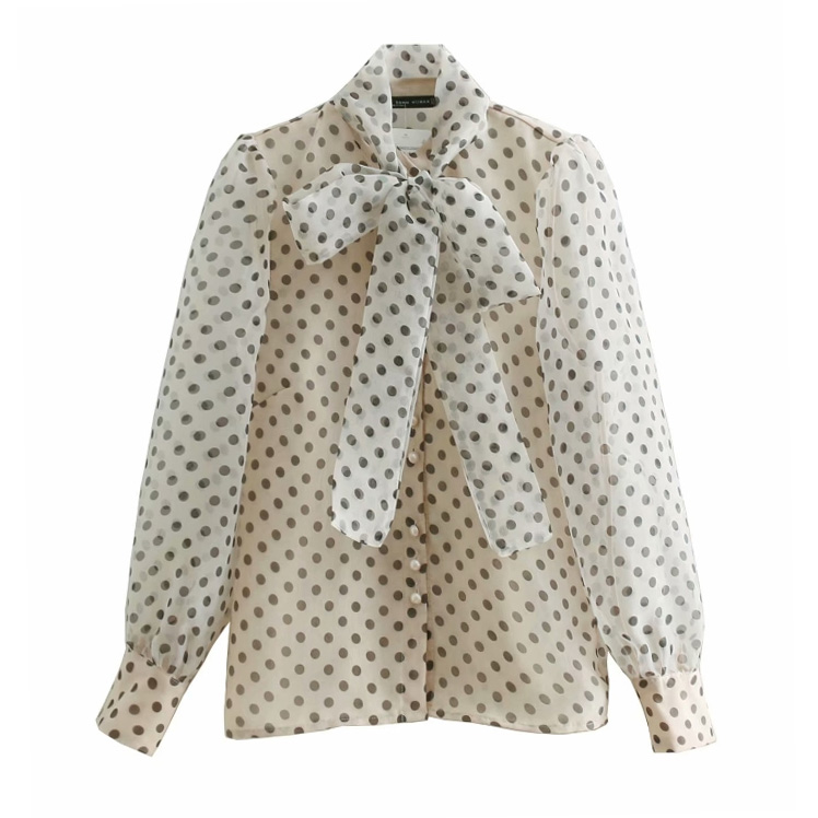 Women Sweet Polka Dots Printing Casual Organza   Blouses     Shirt   Women Long Sleeve Bow Tied Smock Blusas Femininas Chemise