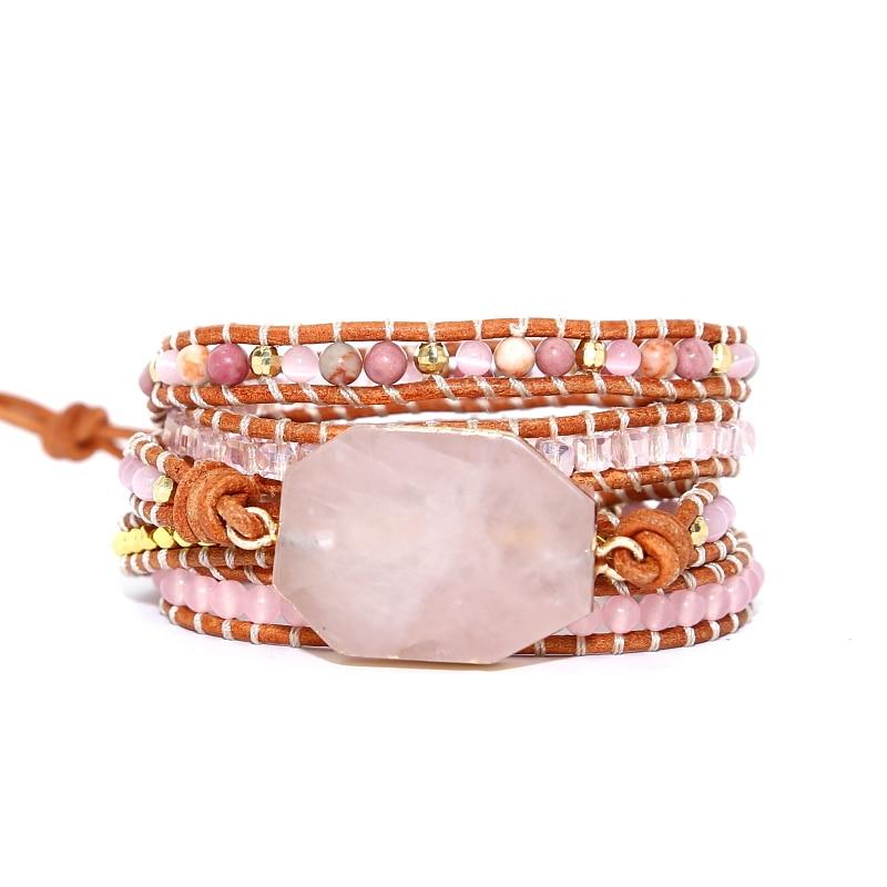2019 Natürliche Stein Armband 5 Wraps Armband Boho Handgemachte Rosa Quarz Armband Für Frauen Leder Armband Geschenk Dropshipping