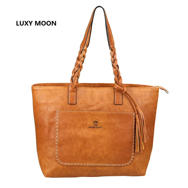 Luxy Moon PU Leather Handbag for Women Tassel Shopper Tote Luxury Designer sac a main High Quality Vintage Fashion Shoulder Bag