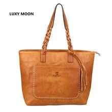 Luxy Луна искусственная кожа Сумочка для Для женщин кисточкой Shopper Tote Роскошные Дизайнерские SAC Основной высокое качество Винтаж моды сумка
