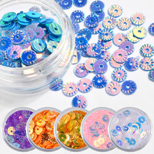 Pandahall 6PCS Nail Glitter Set Holographic Round Sequins Colorful Paillette Decorations