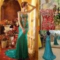 Lujo 2017 Bling Chismes Largo Sirena Vestidos de Noche V Cuello de Lentejuelas de Oro Rojo Azul Verde Cristales Rhinestone Vestidos de Baile