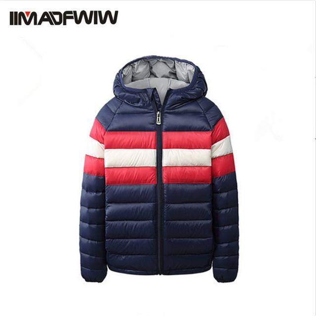 2016 chicos abrigo de invierno parkas ropa de abrigo chaqueta wadded chaqueta de algodón acolchado de moda de rayas con capucha delgada ocasional ropa para a boy