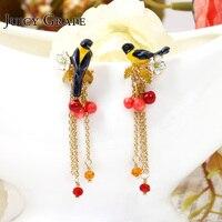 New Product Be Listed Enamel Glaze Oriole Bird Small Cherry Tassels Long A Ear Nail Eardrop