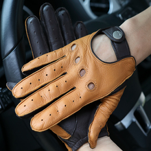 цена на High Quality Deerskin Gloves Male New Real Leather Gloves Man Locomotive Driving Gloves Non-Slip Breathable Mittens M065W-2