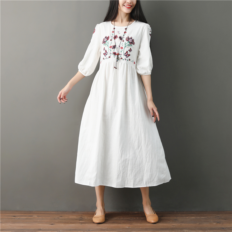 2018 Vintage Cotton Linen Round Neck Ladies Outwear Black Pocket Dress Casual Summer Women Large Size New White
