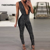 FABCHARMAX Sexy club wear rhinestone jumpsuit womens sequined deep V jumpsuits diamonds sleeveless bodycon overalls for women