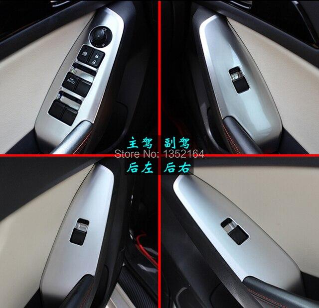Auto interior armrest decoration trim cover,window switch button trim for Mazda 3  2014 2015, auto accessories,4pcs/set.