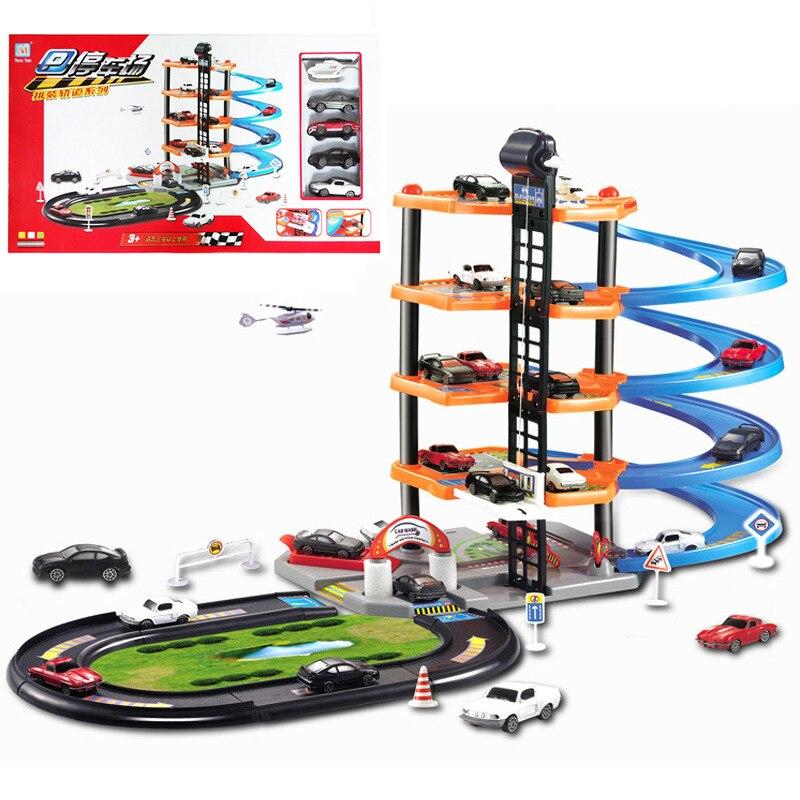 Grand jouet de voiture de parking assemblé pour enfants bricolage manuel éducation précoce cinq pistes en plastique, y compris cinq voitures
