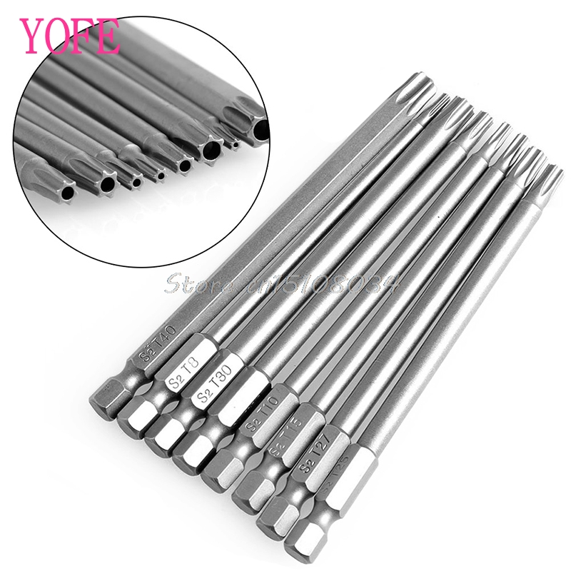 8Pcs/Set T8-T40 100mm Magnetic Torx Screwdriver Bits 1/4 Hex Shank S08 Drop ship 8pcs t9 t40 150mm lenght magnetic torx screwdriver bits 1 4 hex shank s2 steel electric screwdrier tool