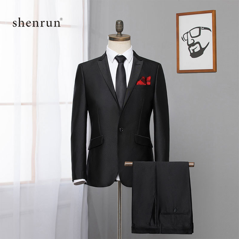 Shenrun Men Suits Slim Fit Work Formal Suit Jacket Pants Business Party Male Blazers Wedding Casual Jackets Stage Show Costume