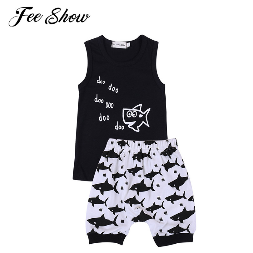 6 Months-4 Y Infant Baby Boy Clothes Summer Sleeveless T-shirt And Shorts Boys Clothes Soft Cotton Cute Shark Pattern Kids Sets