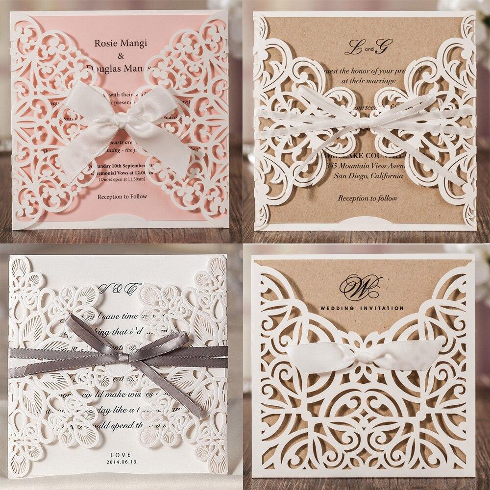 1pcs laser cut lace flora wedding invitation cards with