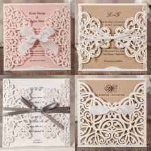 1pcs Laser Cut Lace Flora Wedding Invitation Cards with Ribbon Bow and Envelopes for Bridal Shower Engagement Birthday invites free shipping wedding bridal shower birthday personalized with lace and flower decorated guestbook