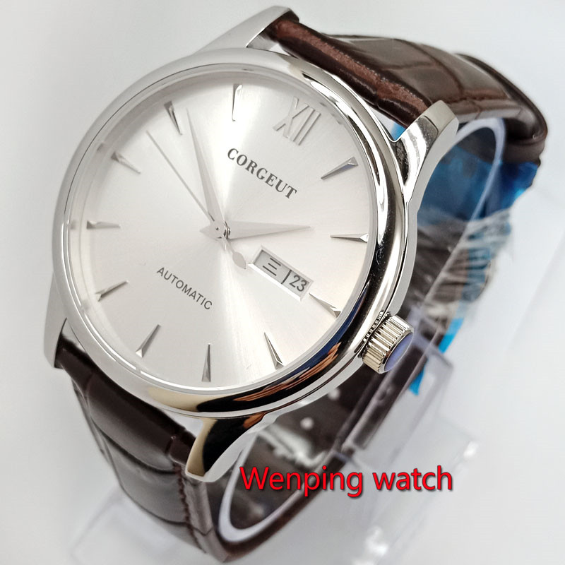40mm corgeut silver white dial Week and date With brown pattern strap Automatic mens Watches W2767