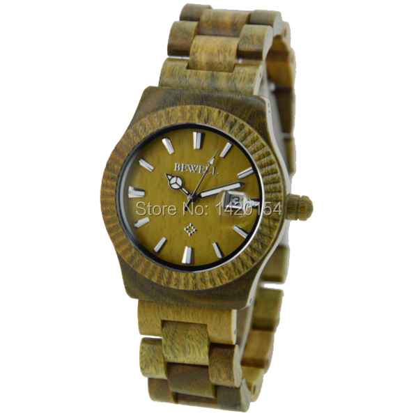Eco-friendly Green Sandal Wood Watches Mens Quartz Wooden Watch with Date