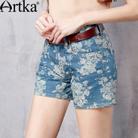 Artka Women's Summer New All match Floral Printed Denim Shorts Vintage High Waist Breathable Shorts With Pockets KN15169C
