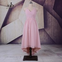 Beautiful Dresses For Teens Cheap Pink Chiffon Prom Dresses Ankle Length Formal Dresses 2017 Halter Pleats