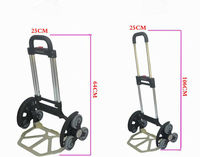 Aluminum Alloy Portable Trolley High Quality Foldable Shopping Cart Six Wheel Climbing Cart Telescopic Rods Luggage Cart