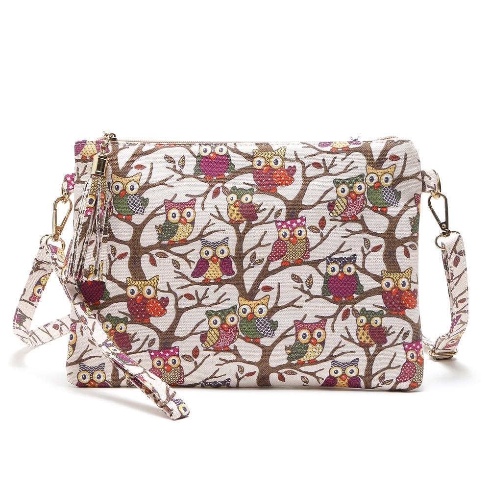 Designer Brand Tassel Women Small Bags Canvas Shoulder Messenger Bags Fashion Zipper Bag Owl Printing Crossbody Envelope Bag