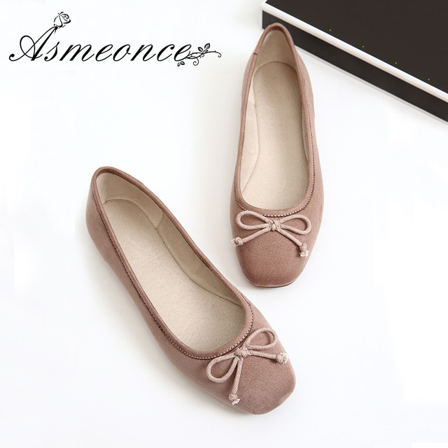 314f79229 Women Ballerina Ballet Flats Female Scrub Genuine Leather Loafers Cute Bow Flat  Shoes Ladies Moccasins Top Quality Black