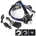 Hot sale!Ac/Car Charger+1600 Lumen Head Torch XML T6 LED Head Lamp Flashlight Headlight Headlamp Lanterna Ourdoor Searchlight