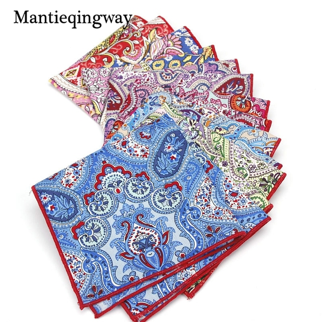 Mantieqingway Cashew Flowers Mens Business Pocket Squares Fashion Brand Cotton Handkerchiefs Clic Size Hanky Towel Gifts