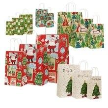 40 Pçs/lote 21x13x8 centímetros Natal Decoração Saco de Presente de Papel Saco de Papel Com Alças Para O Natal Partido Do Evento Linda Sacos De Papel Bonito