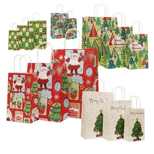 40 Stks/partij 21X13X8Cm Kerst Papieren Zak Met Handvatten Decoratie Papieren Zak Cadeau Voor Kerst Event party Mooie Schattige Papieren Zakken