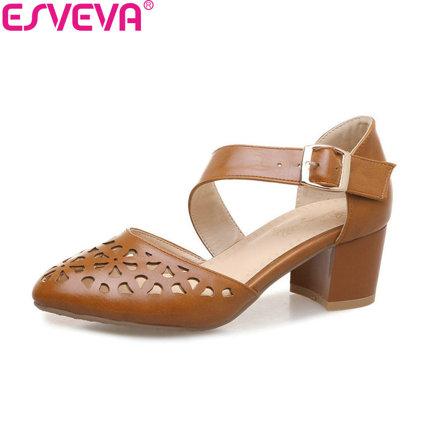 ESVEVA 2018 Women Pumps Openwork Shoes Spring and Autumn Buckle Square High Heel PU Round Toe Elegant Women Shoes Size 34-43 vallkin size 34 43 white buckle strap round toe women pump square high heels solid autumn spring lady party shoes