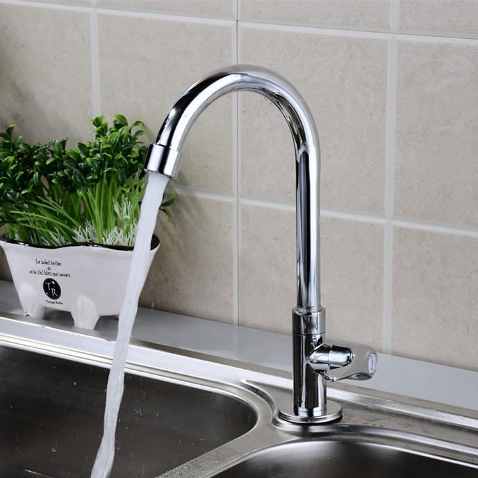 Free shipping 2017 hot selling single cold kitchen sink faucet with polished chrome surface single cold
