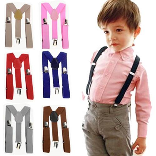 Lovely Kids Adjustable Clip-On Braces Boys Girls Y-Back Suspender Child Elastic  5PJI 7GL9