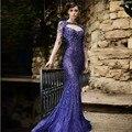 Arabia Saudita Púrpura Del Cordón de La Sirena Vestido de Noche 2016 Atractivo Backless Rebordear Manga Larga Vestido De Fiesta 2017 Vestidos De Noche Musulmanes