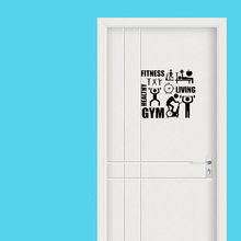 Fitness GYM Wall Decal Healthy Life Style Home Decoration  Removable Art Vinyl  Door Sticker A2309