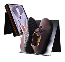 Black poster shoes man T shirt N shape desktop display rack showing stand boutique store display fixture