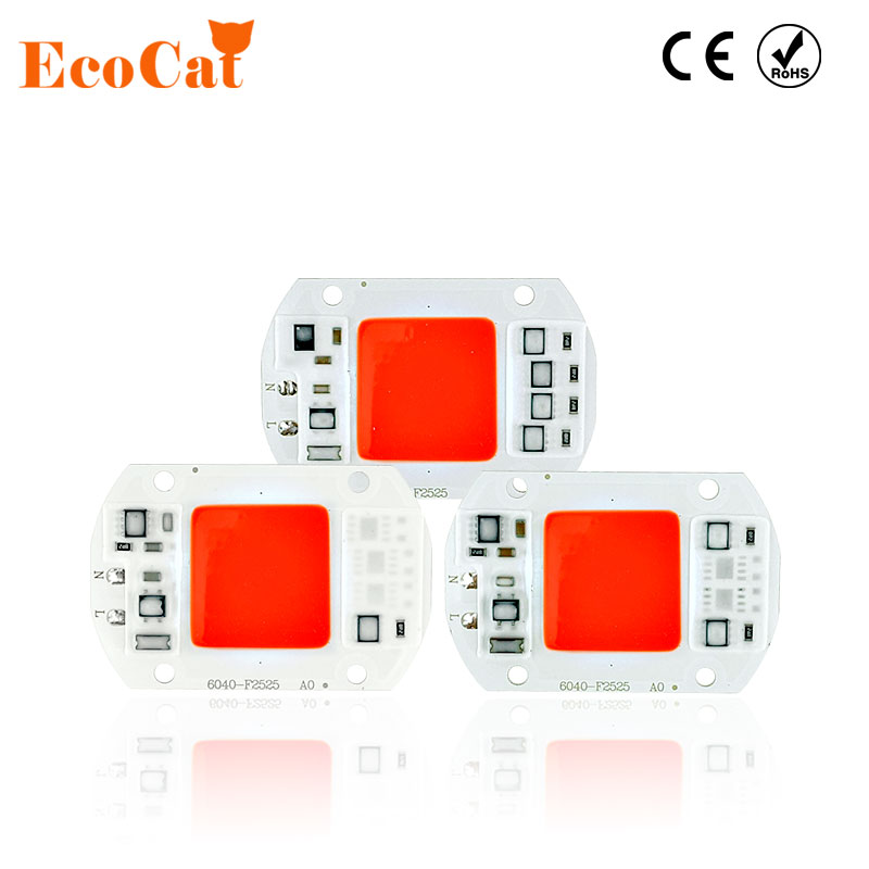 ECO Cat LED lamp Red Green Blue 20W 30W 50W 220V 240V LED COB Chip Smart IC Driver Fit For DIY LED Spotlight Floodlight LED Bulb 50w 25 led red