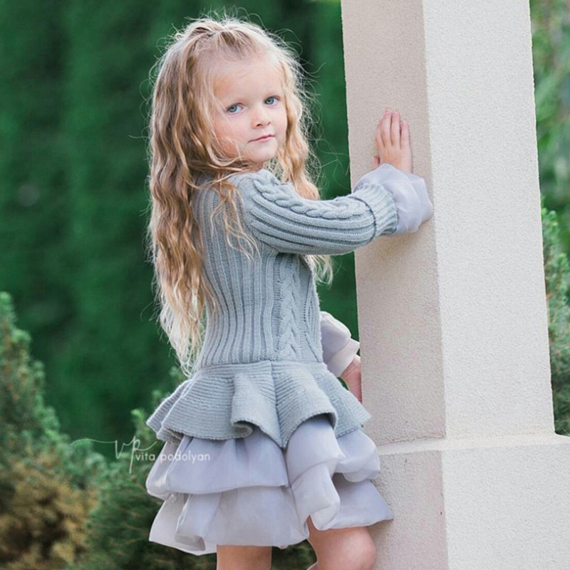 Girls Winter Dress Organza Wool Knit Long Sleeves Gown Princess 3 4 5 6 7 8 9 Year Dress Halloween Christmas Costumes for Girls grey cable knit slit details round neck long sleeves jumper
