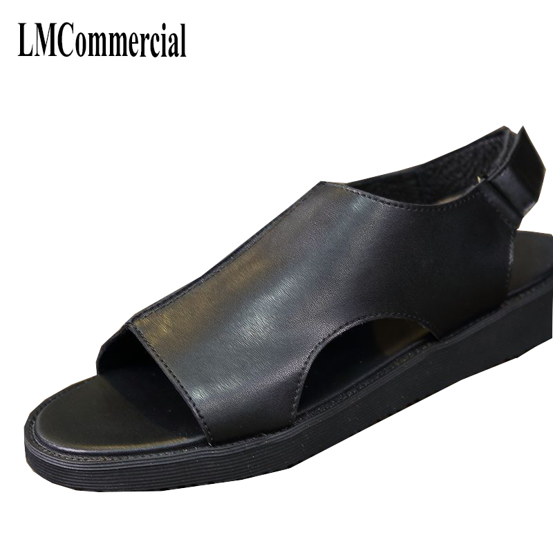 Noir 2018 Cuir Coréenne En Sandales Rome Mode Hommes D'été De Tendance Version Britannique Chaussures OAOxwqBr