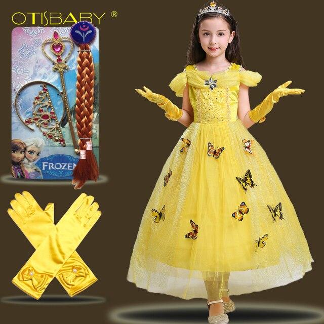 45b25659d Childrens Girl Fairy Beauty and The Beast Belle Princess Costume Fancy Baby  Girls Rapunzel Fille Kids Aurora Snow White Dress