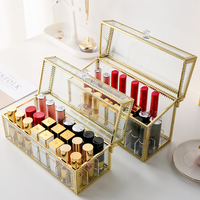 M 24 grids gold edge glass lipstick storage holders copper lipstick makeup cosmetic organizer glass storage box with lid B2231