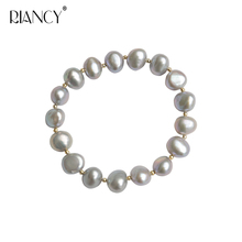 Fashion black Baroque natural freshwater pearl bracelet for women trendy real pearl jewelry birthday gift