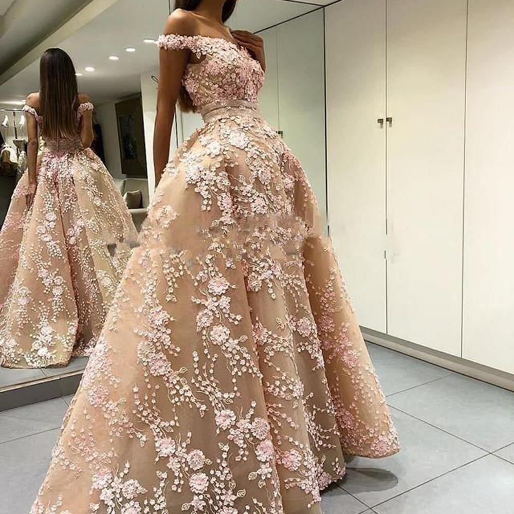 Amazing 3D Appliques Long Prom Dresses Off The Shoulder V Neck 2019 Evening Dress Organza Formal Party Gowns Vestido De Noiva