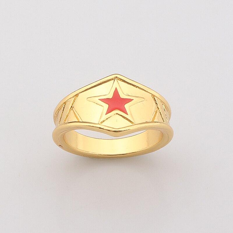 Super Hero Wonder Woman Tiara Ring Bague Simple Movie Themed Gold Ring Rings for Women