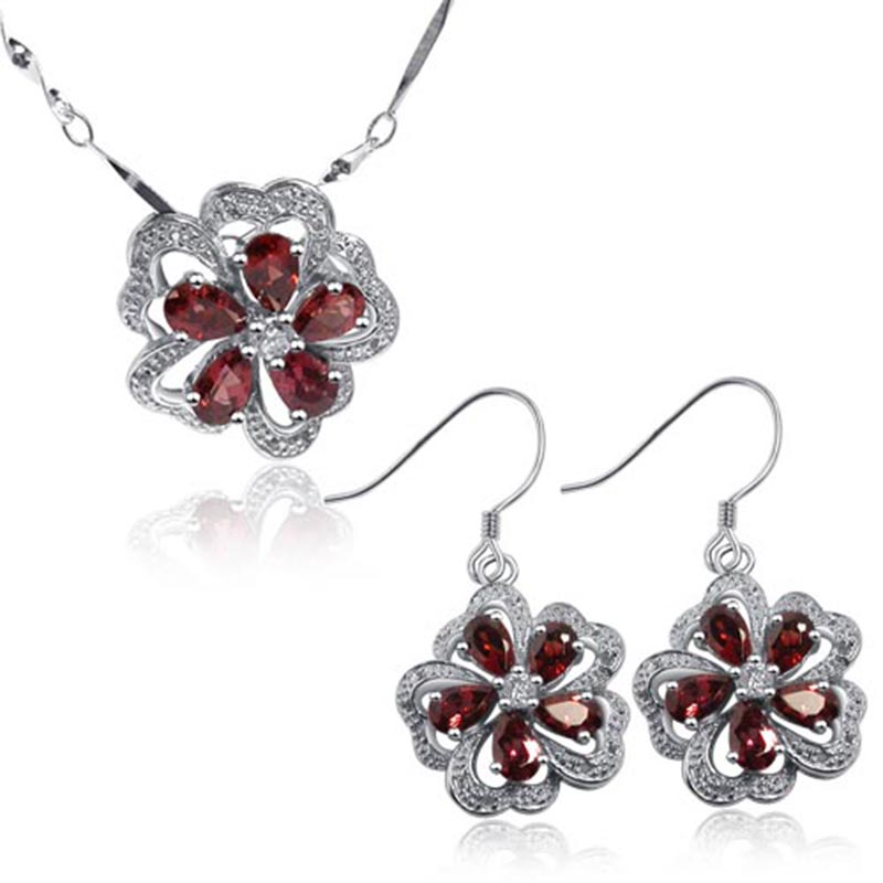 Fashion colorful genuine gem stone jewelry sets flower shape natural crystal pendant necklace/earrings with sterling 925 silverFashion colorful genuine gem stone jewelry sets flower shape natural crystal pendant necklace/earrings with sterling 925 silver
