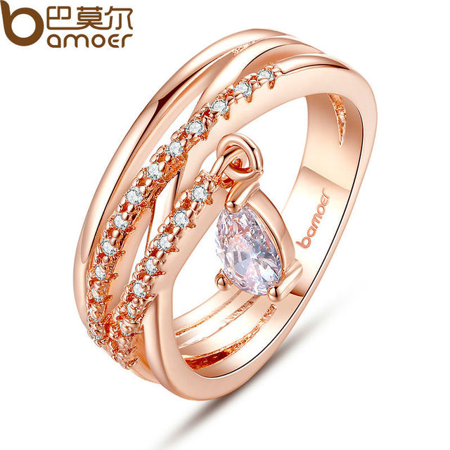 BAMOER Gold Color Bohemia Ring for Lady Wedding with Water Drop Pendant Special
