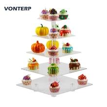 VONTERP 1 PC square 5 Tier Transparent Acrylic Cupcake Stand acrylic cake stand with base Square(4.7 between 2 layers)